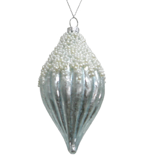 Maker\u0027s Holiday Christmas Arctic Frost Glass Pearl Ornament-Blue