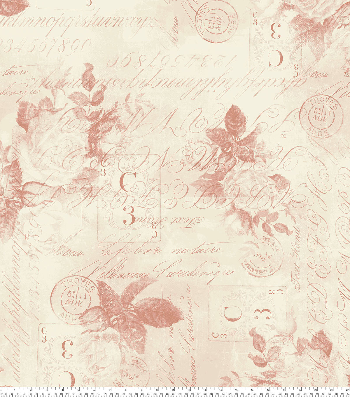 Tim Holtz Wide Cotton Fabric 108\u0027\u0027-Red Rose Parcel