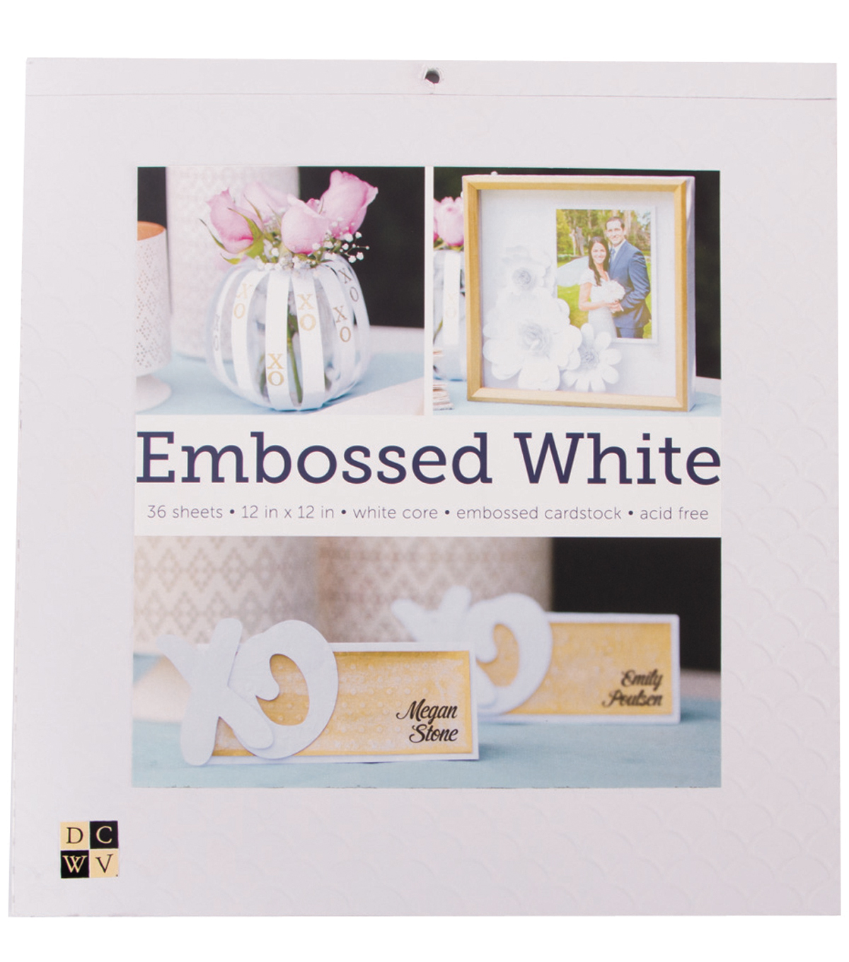 "DCWV 12""x12"" Embossed White Cardstock Stack"