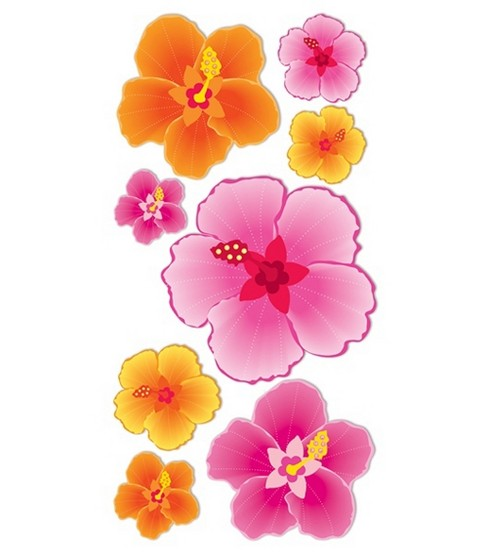 Dimensional Stickers-Hibiscus Flowers
