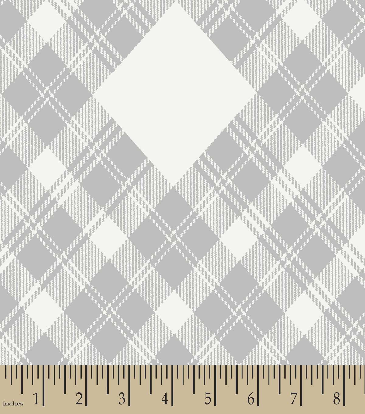 Grey Plaid Print Fabric