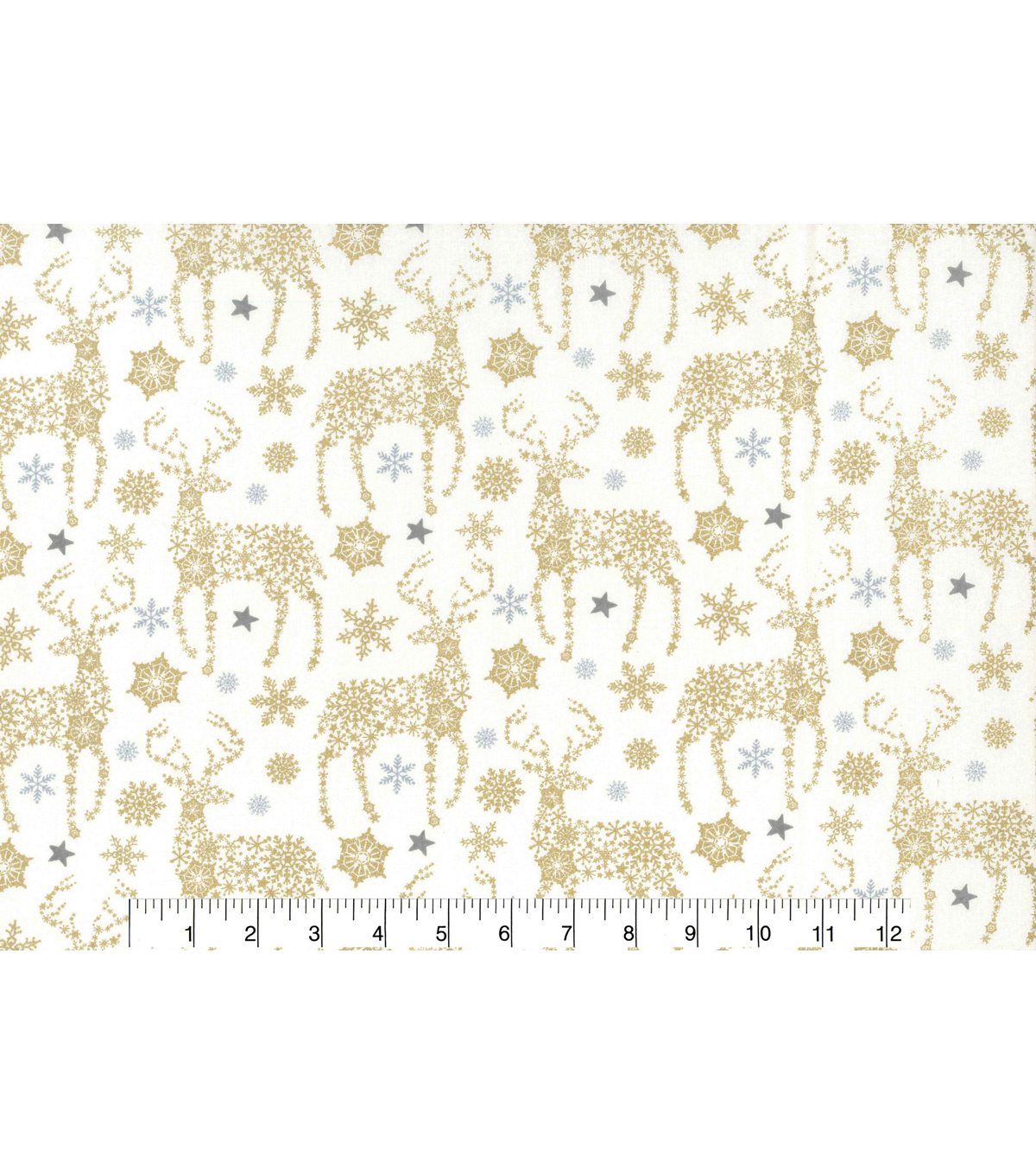 Christmas Cotton Fabric 43\u0022-Gold Metallic Snowflake Deer