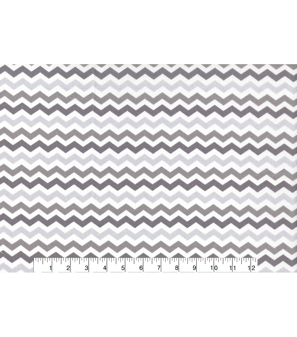 Nursery Cotton Fabric 43\u0022-Multi Grey Chevron