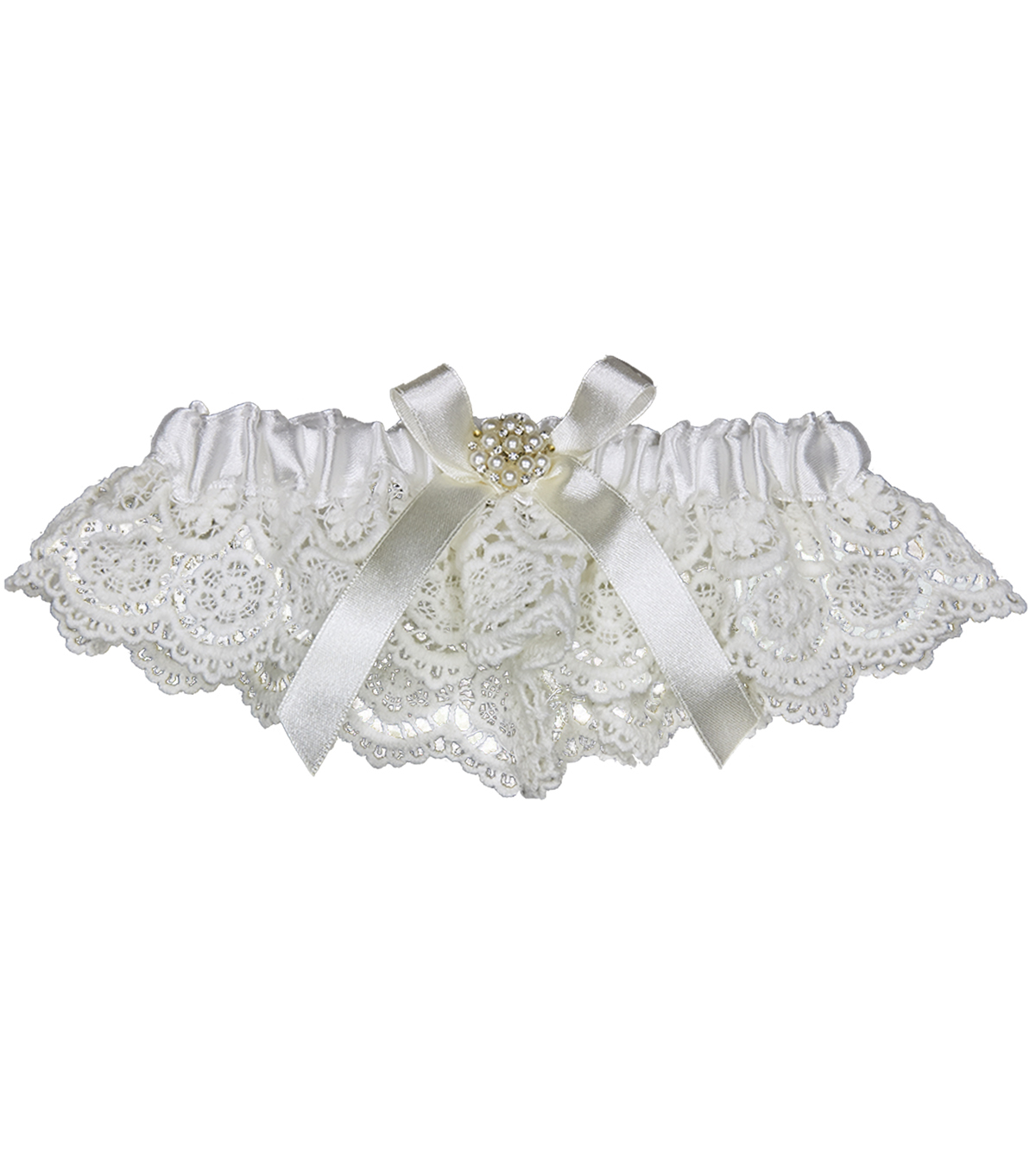 Save The Date™ White Lace Garter Crochet