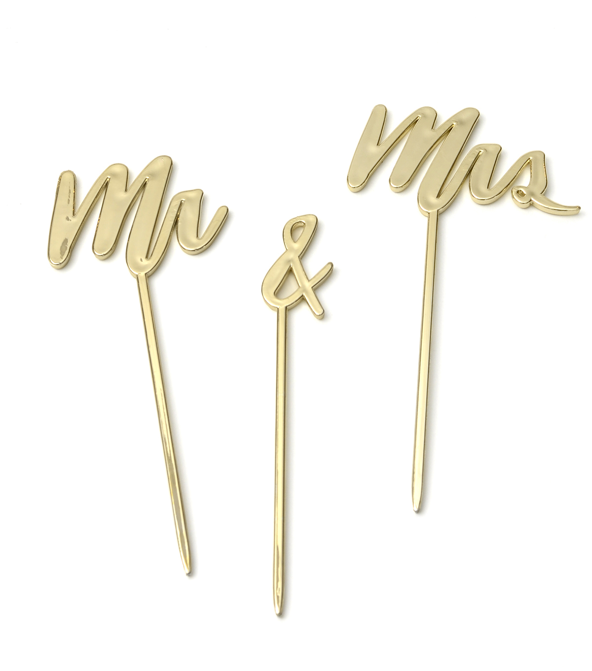 Save The Date™ Pack of 3 Cake Toppers-Gold Mr & Mrs