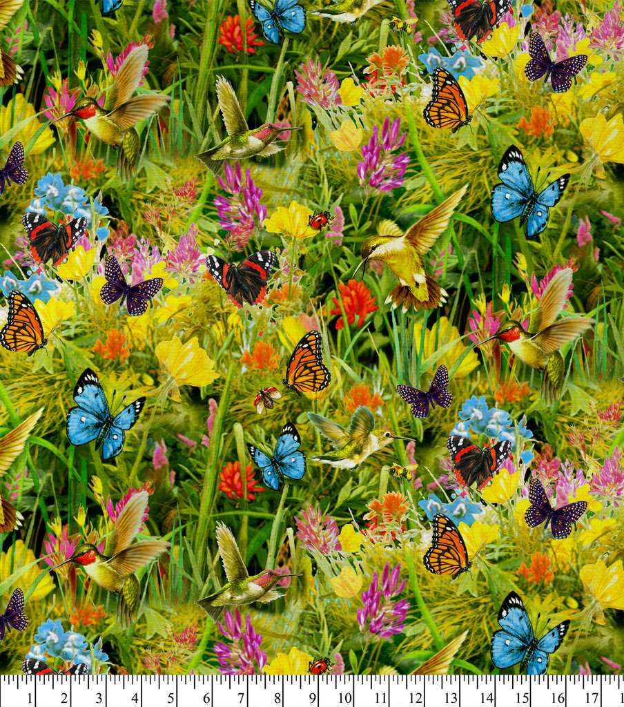 Novelty Cotton Fabric 44\u0027\u0027-Hummingbirds & Butterflies