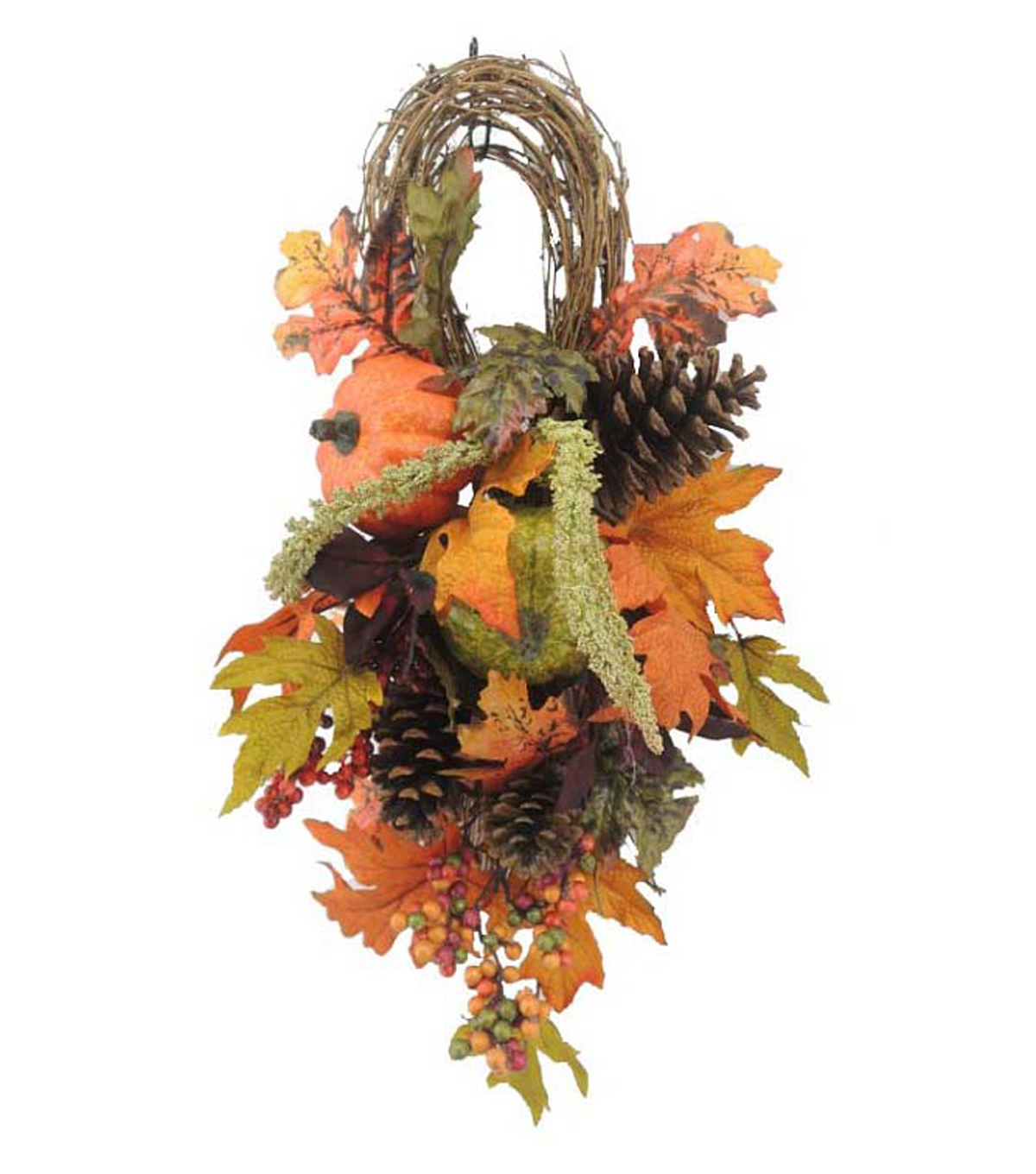 Blooming Autumn 24'' Pumpkin, Berry & Pinecone Teardrop-Orange