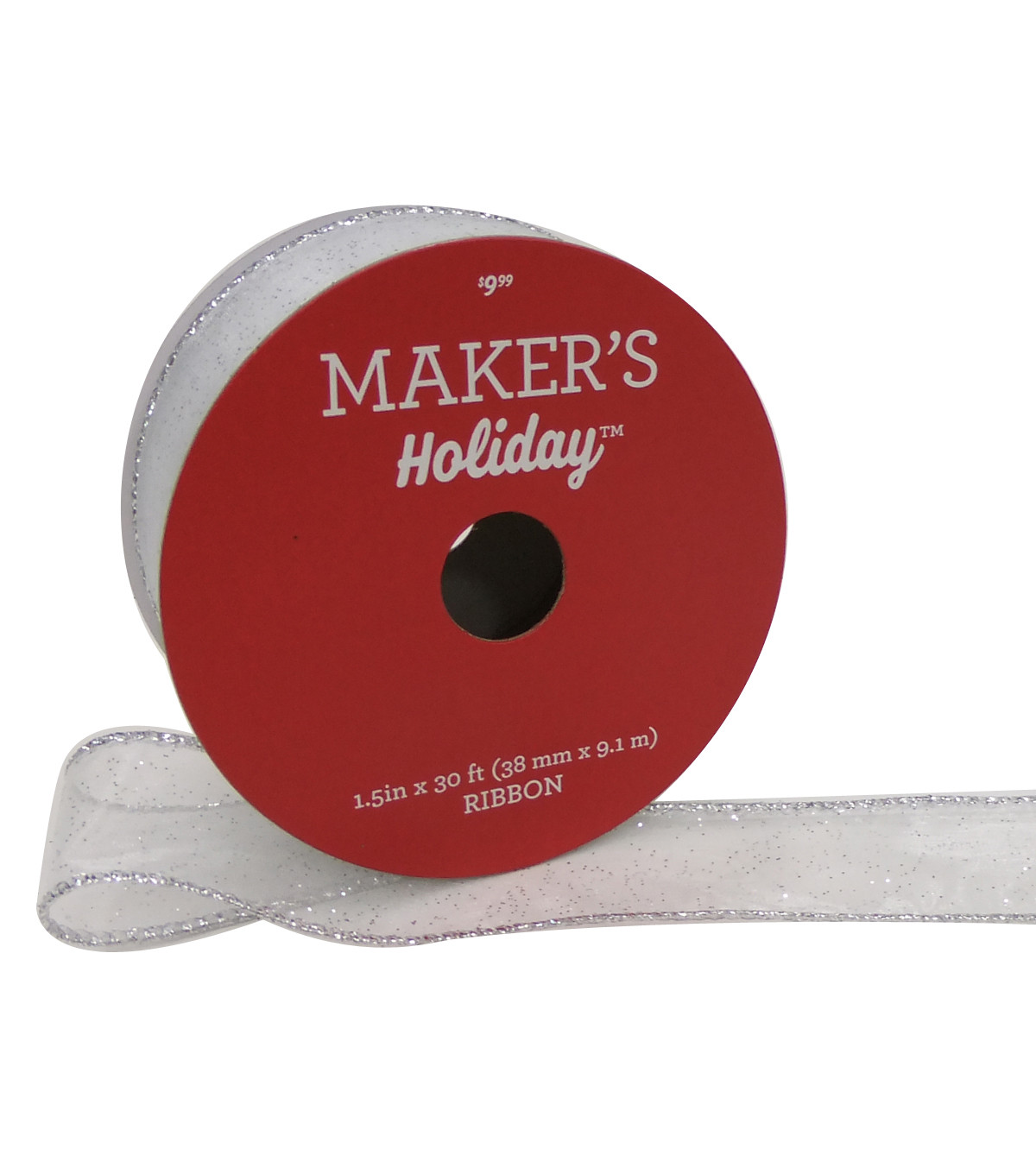 Maker\u0027s Holiday Christmas Sheer Ribbon 1.5\u0027\u0027x30\u0027-Silver Glitter