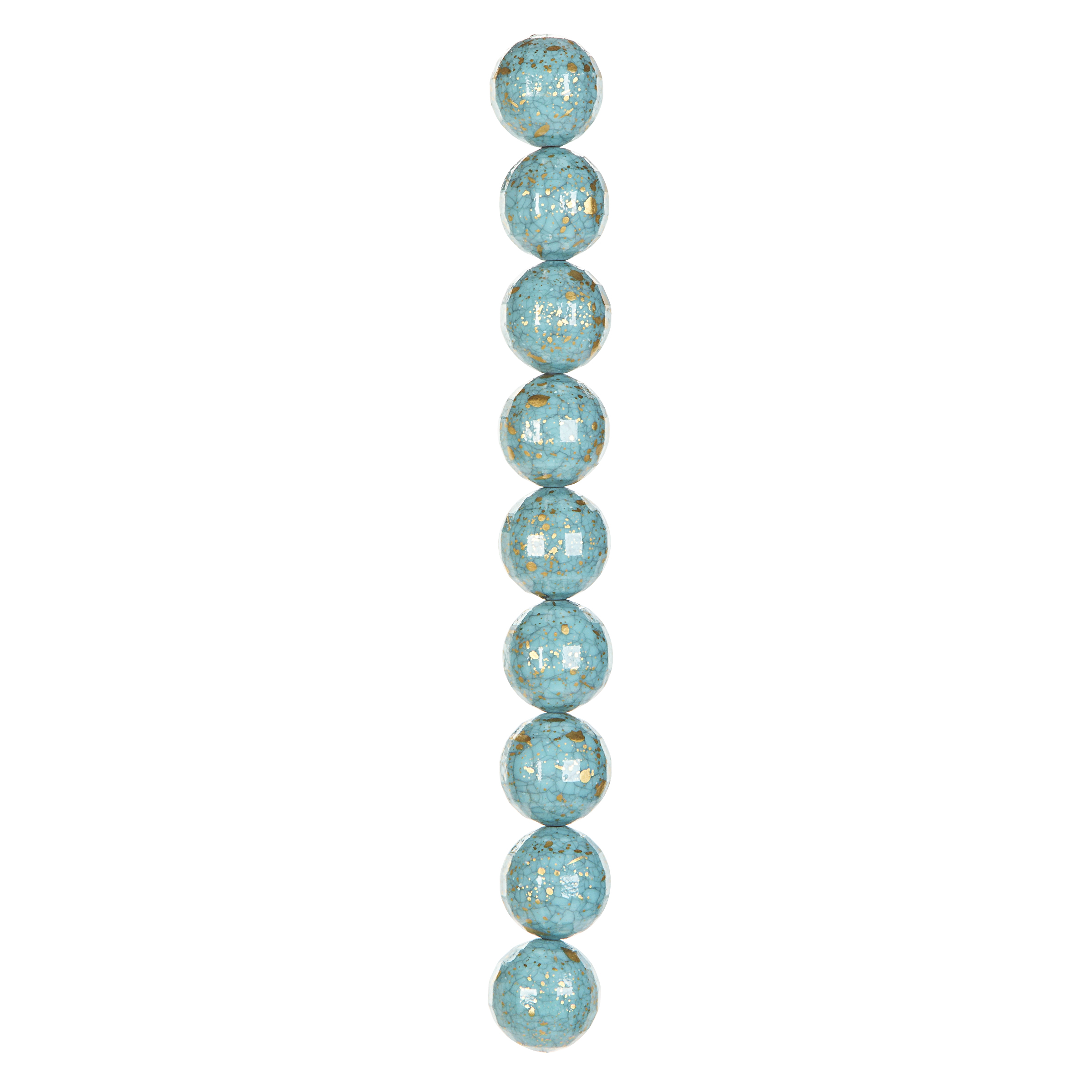 "7"" Strand Acrylic Faceted Round Beads, Turquoise, 20mm dia."