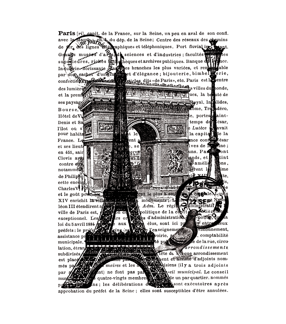 "Artemio Cling Stamps 3.93""X5.7""-Paris W/Text In Background"