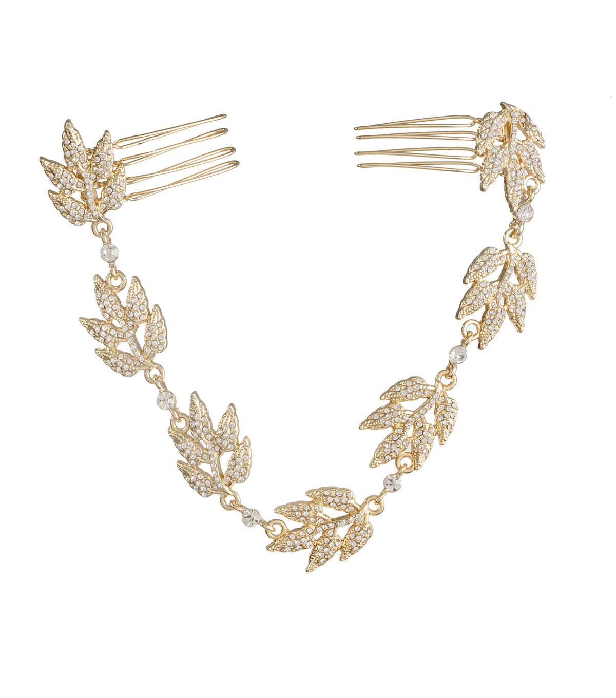 David Tutera Metal Leaf Hair Vine-Gold