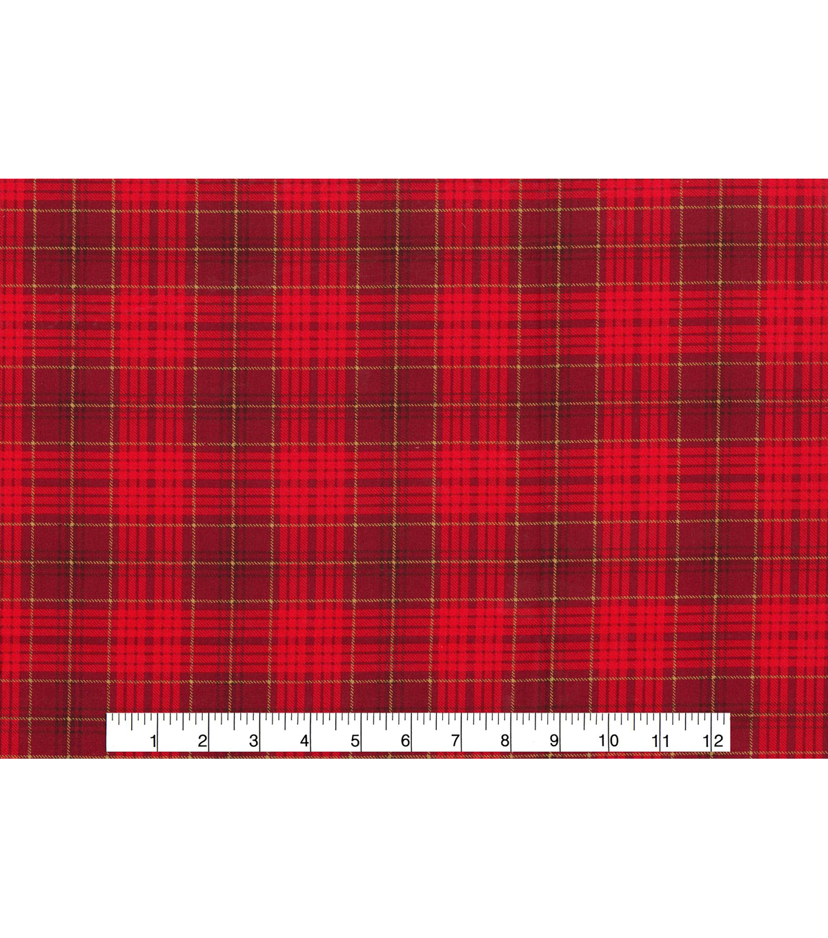 Christmas Cotton Fabric 43\u0022-Red Plaid Metallic