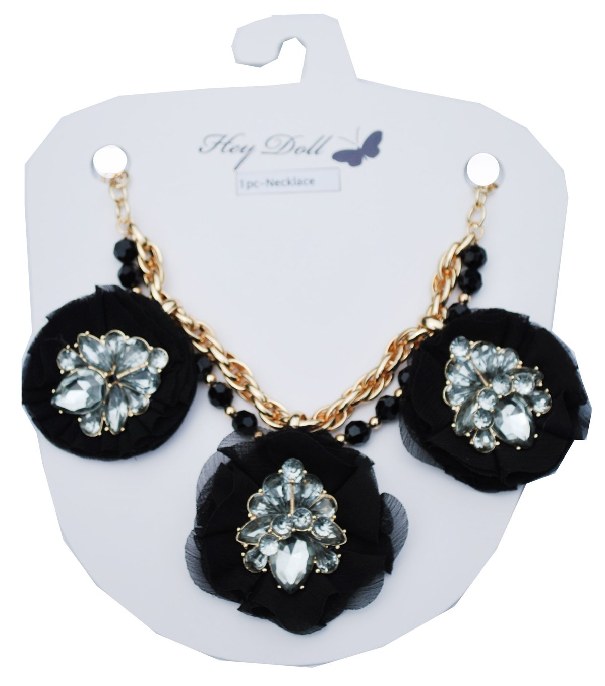 Hey Doll Triple Fabric Flower Statement Necklace