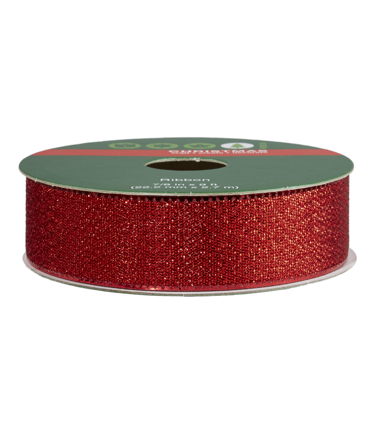 Bonded Edge Christmas Ribbon Red  7/8 in x 9 ft