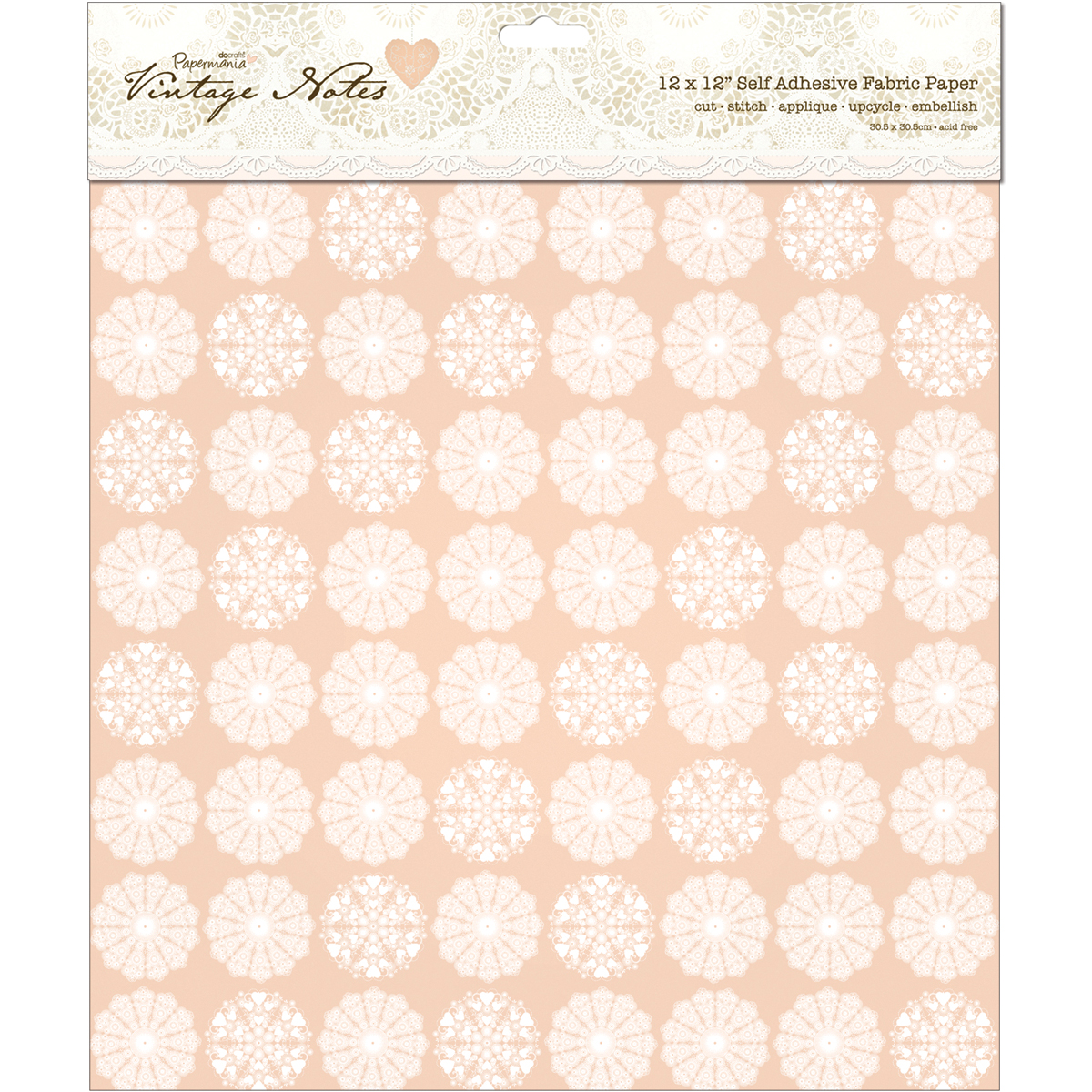 "Papermania Vintage Notes Filigree Self-Adhesive Fabric Paper 12""x12"""