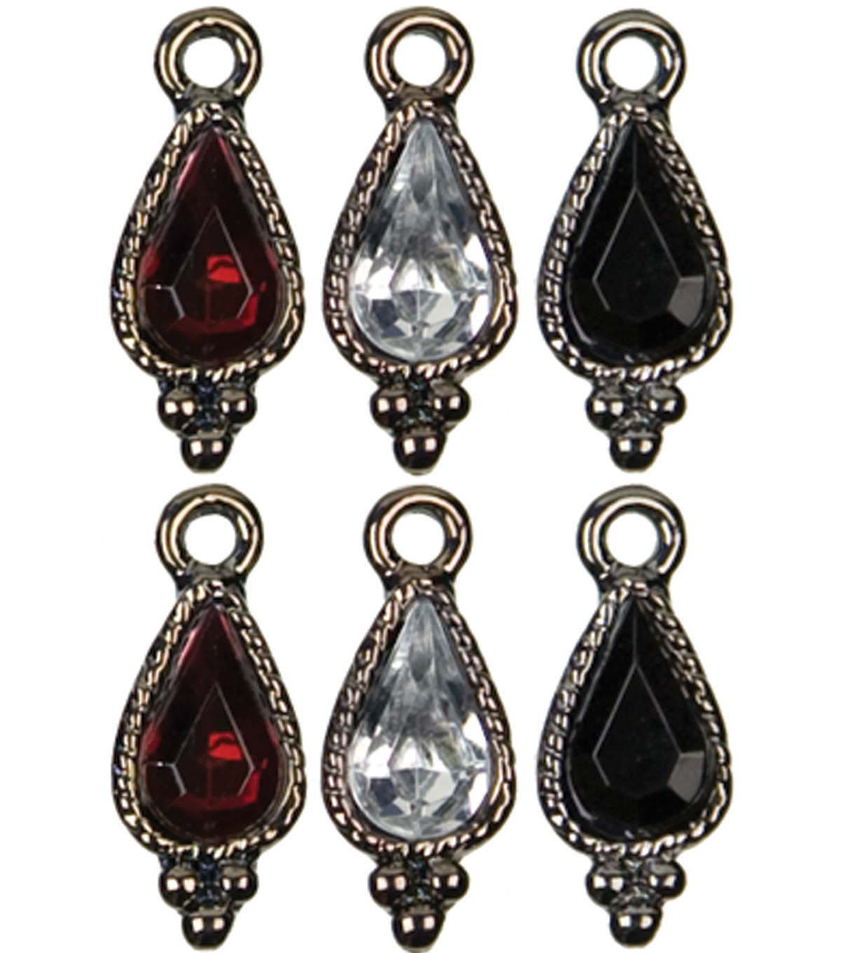Jewelry Basics Metal Charms 6/Pk-Gunmetal Teardrop