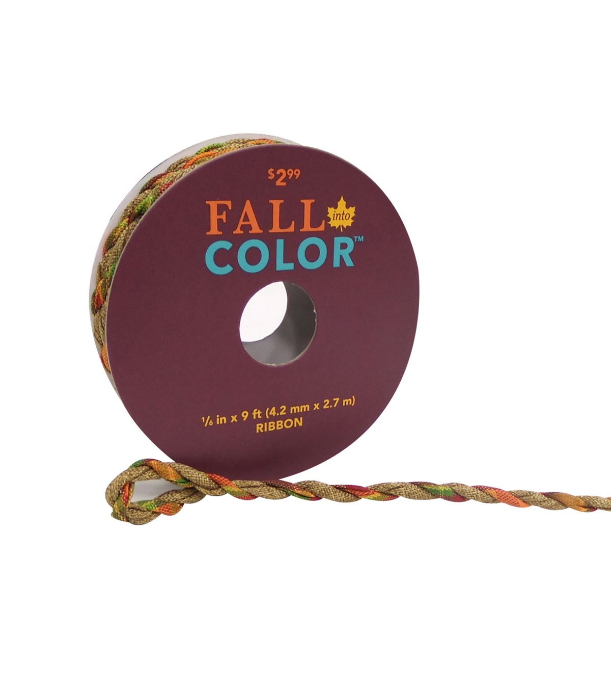 Fall Into Color Cord Ribbon 1/6''X9'-Multi Nature Pumpkin