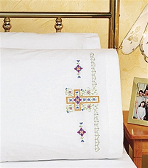 Religious Cross Pillowcase Pair Stamped Cross Stitch
