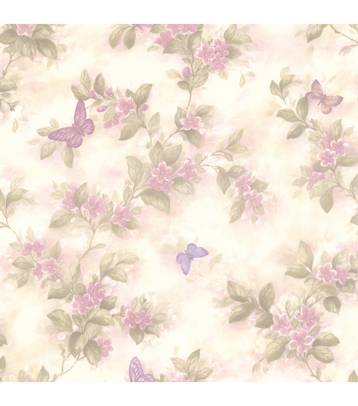 Mariposa Lavender Blossom/Butterfly  Wallpaper Sample