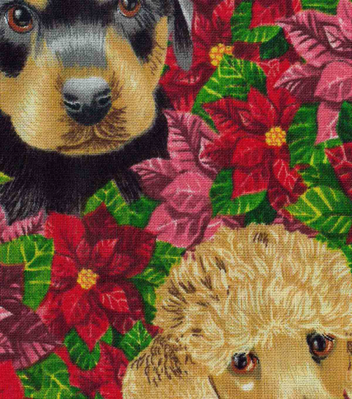 Christmas Cotton Fabric 43\u0022-Dogs & Poinsettias