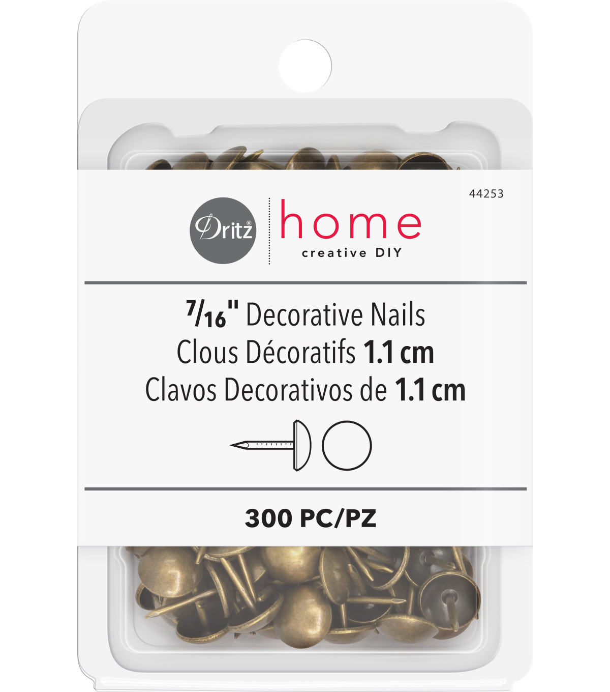 Dritz Home 300pk Decorative Nails-Antique Brass