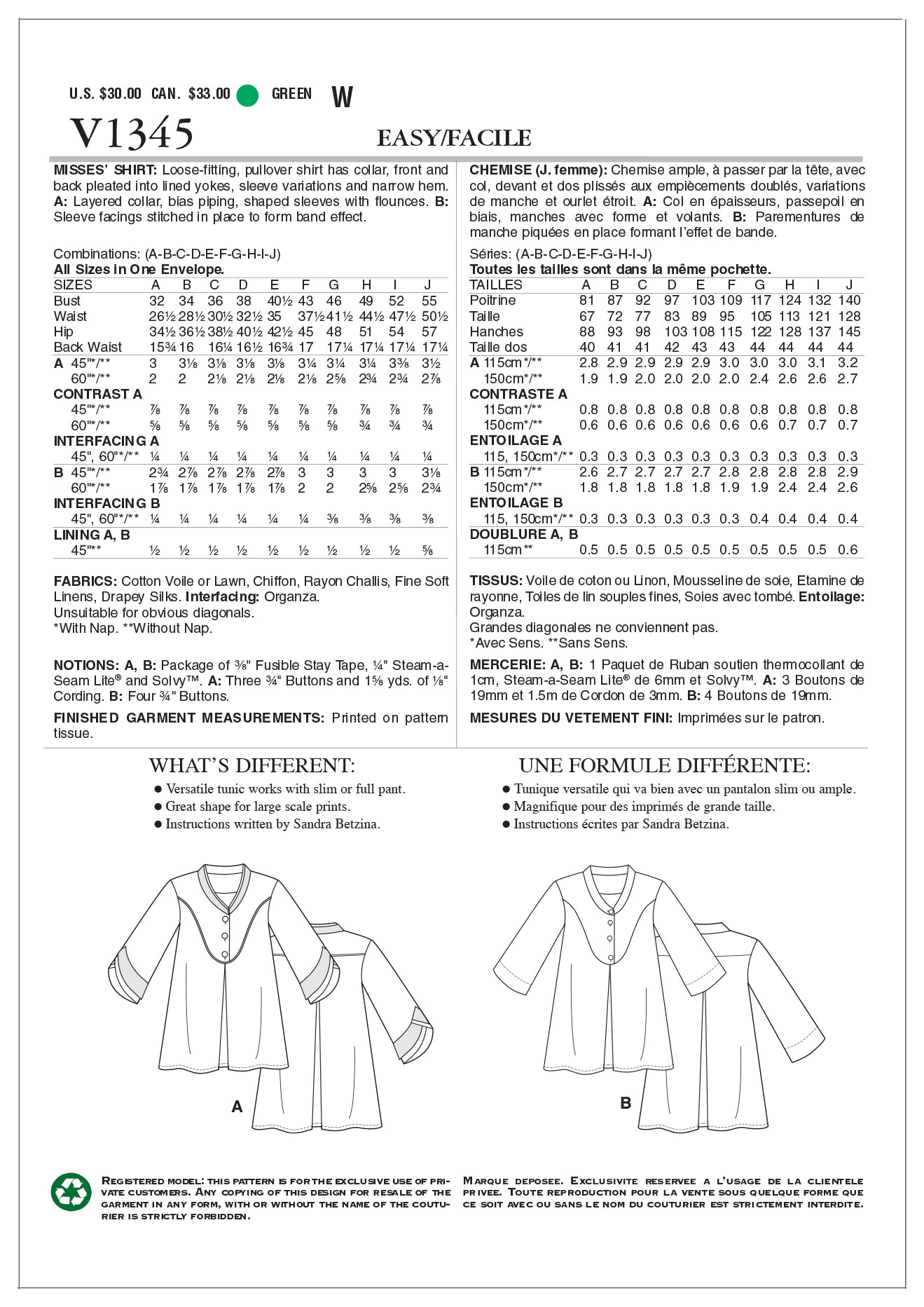 Mccall Pattern V1345 All Sizes -Vogue Pattern