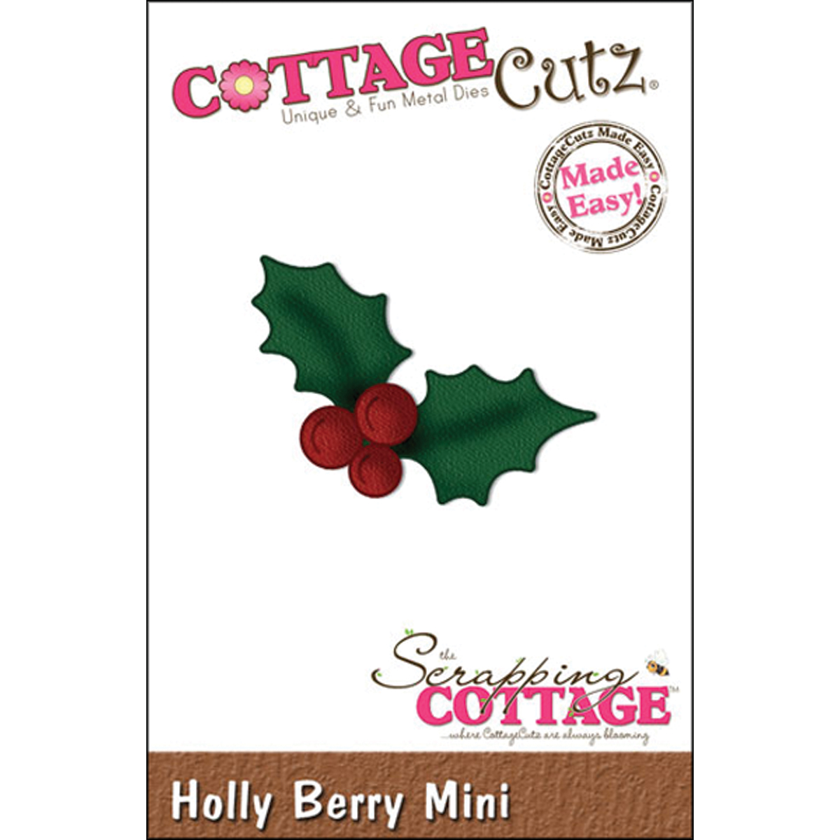 CottageCutz Made Easy Mini Die Holly Berry