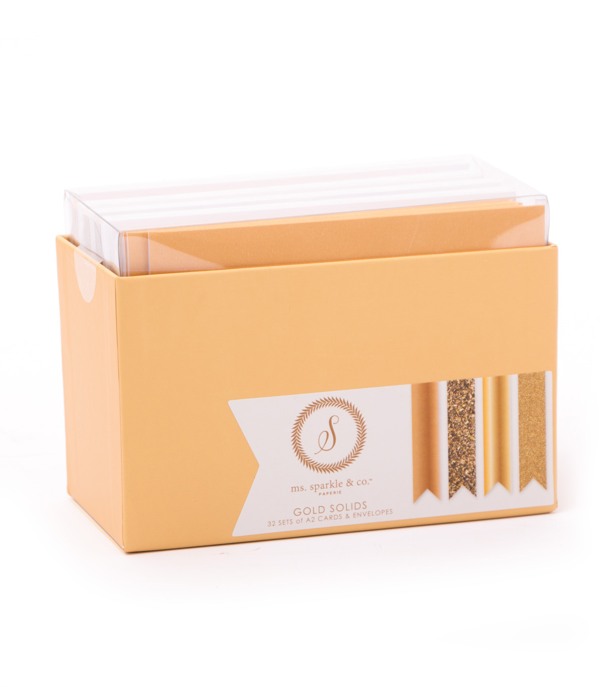 Ms. Sparkle & Co. Pack of 32 A2 Cards & Envelopes-Gold Solids
