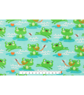 Anti-Pill Fleece Fabric 59\u0022-Jumping Frogs On Lily Pads