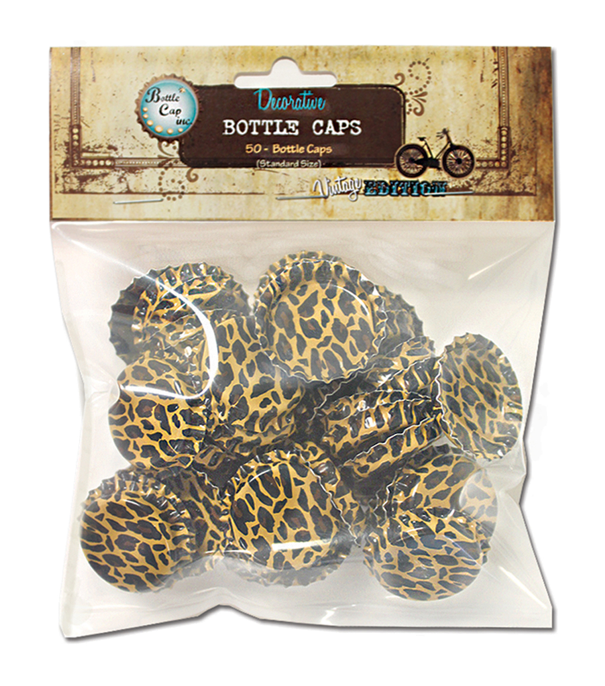 Vintage Collection Standard Bottle Caps 1\u0022 50/Pkg-Cheetah