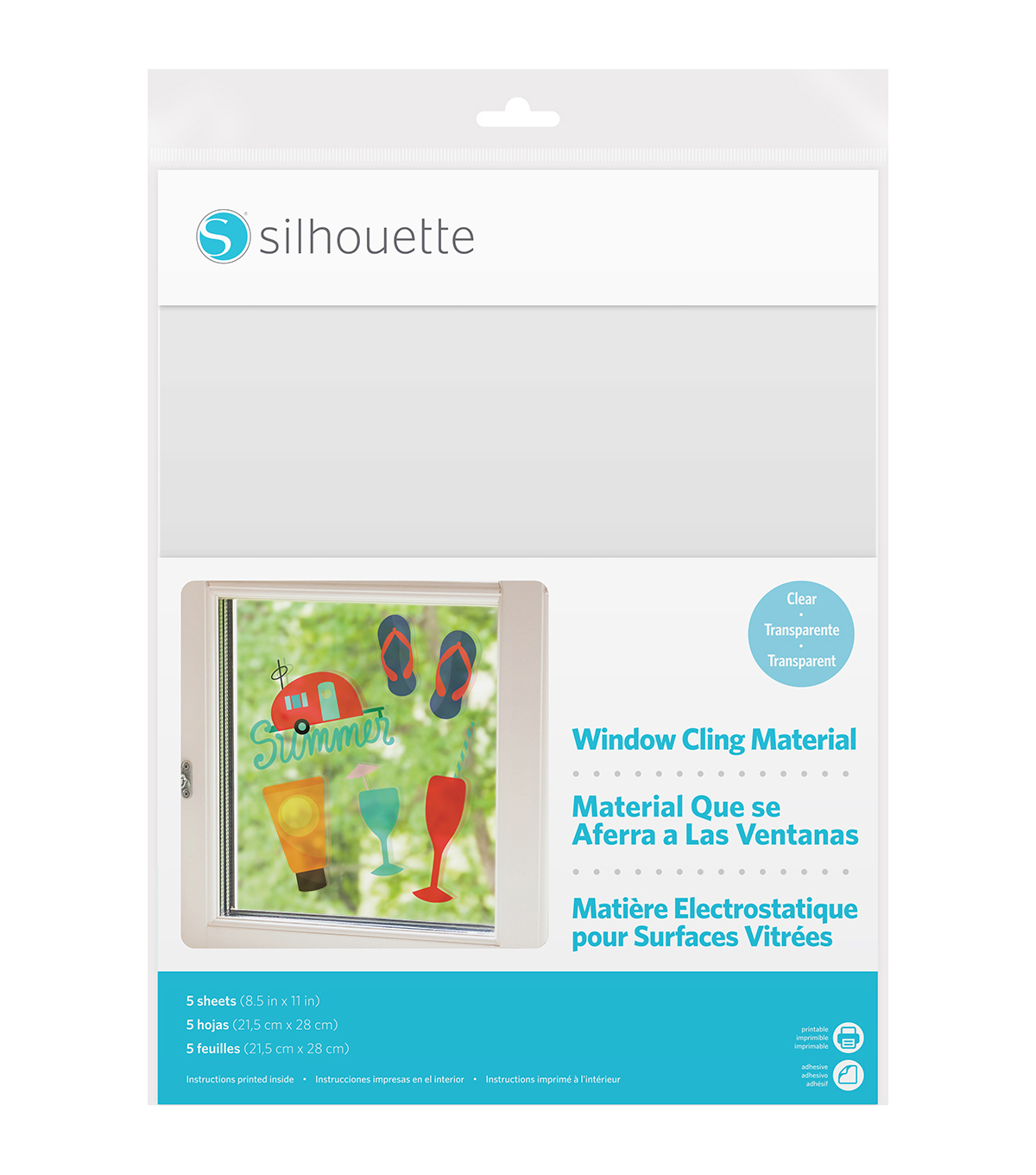Silhouette of America® 5 Pack Printable Window Cling Material-Clear