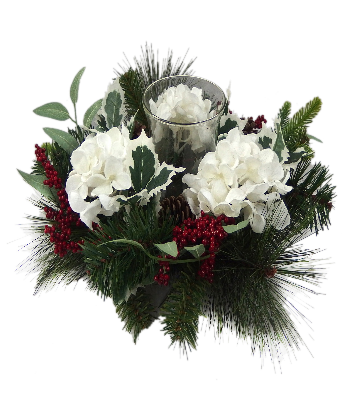 Blooming Holiday Hydrangea, Pinecone & Berry Candle Holder