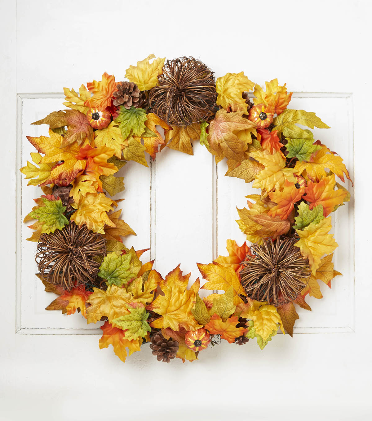 Blooming Autumn 24'' Pumpkin, Twig, Maple Leaf & Pinecone Wreath