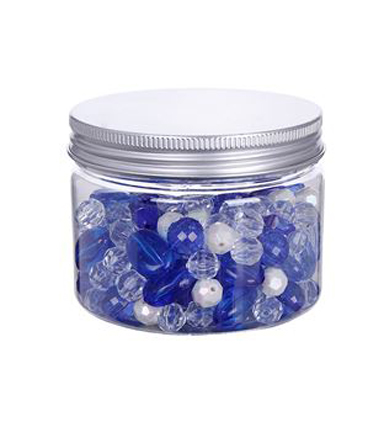 hildie & jo™ Fashion Beads in Plastic Jar-Blue, Clear & White