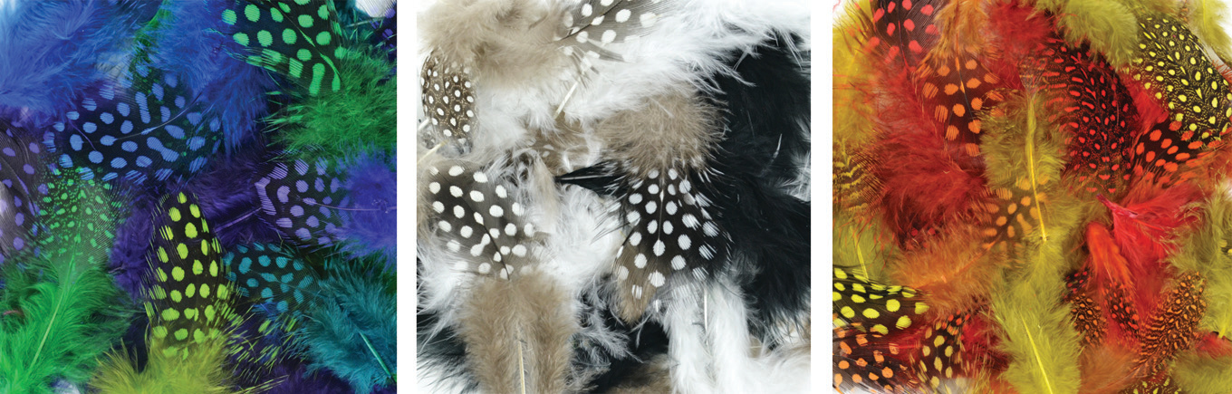 Dyed Guinea Packaged Feather Assortment-includes Warm Mix/Cool Mix/Black & White Mix, 2.8 grams, 1 package