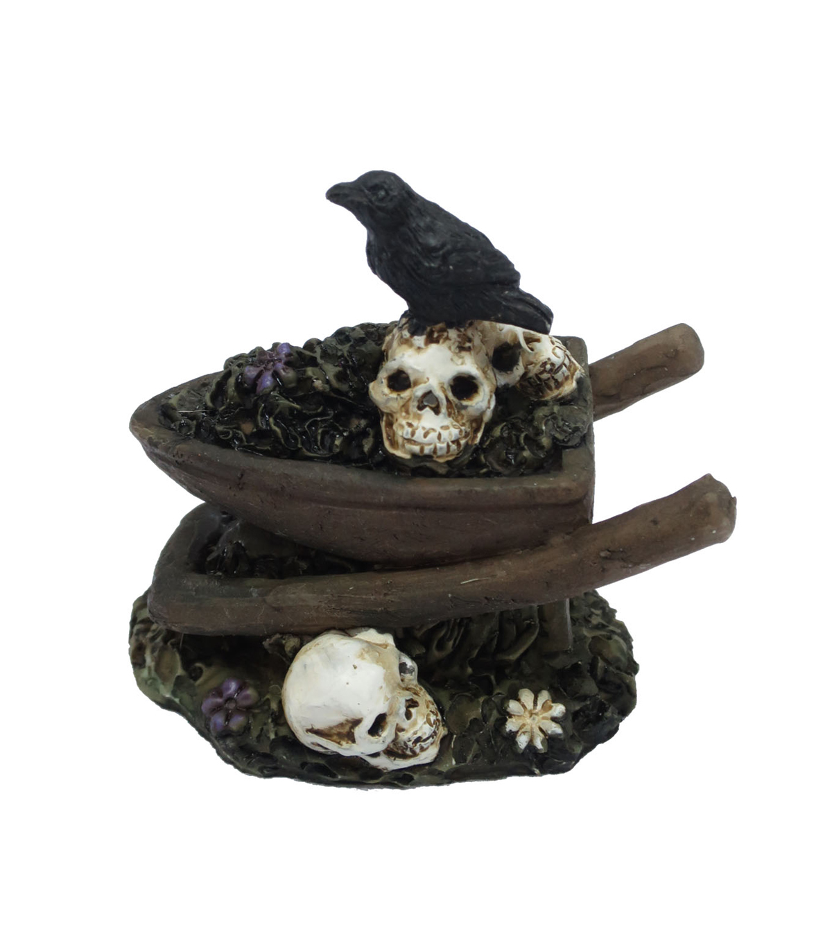Maker\u0027s Halloween Littles 2\u0027\u0027 Halloween Wheel Barrow with Crow