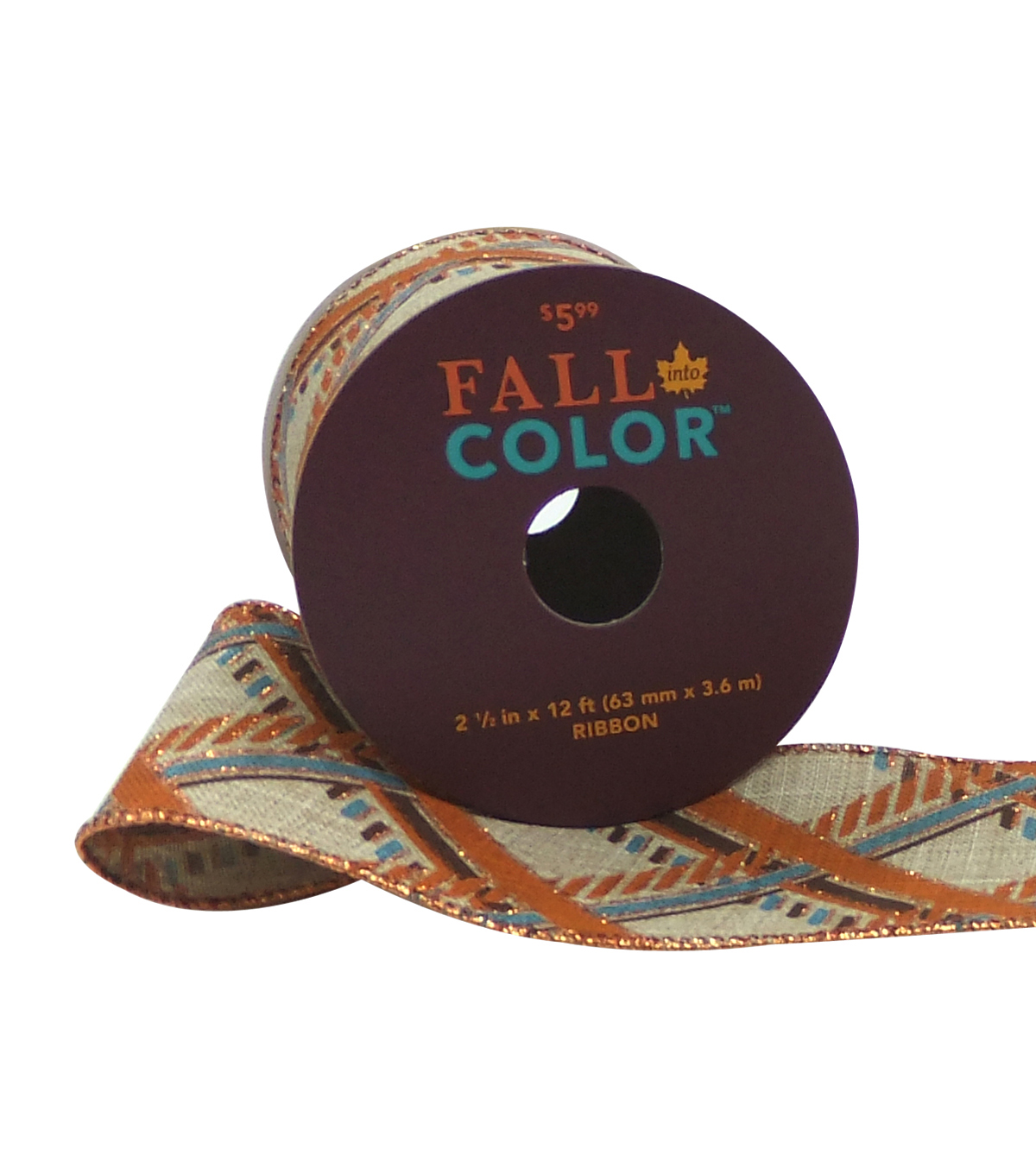 Fall Into Color Ribbon 2.5''x12'-Blue & Orange Plaid on Natural