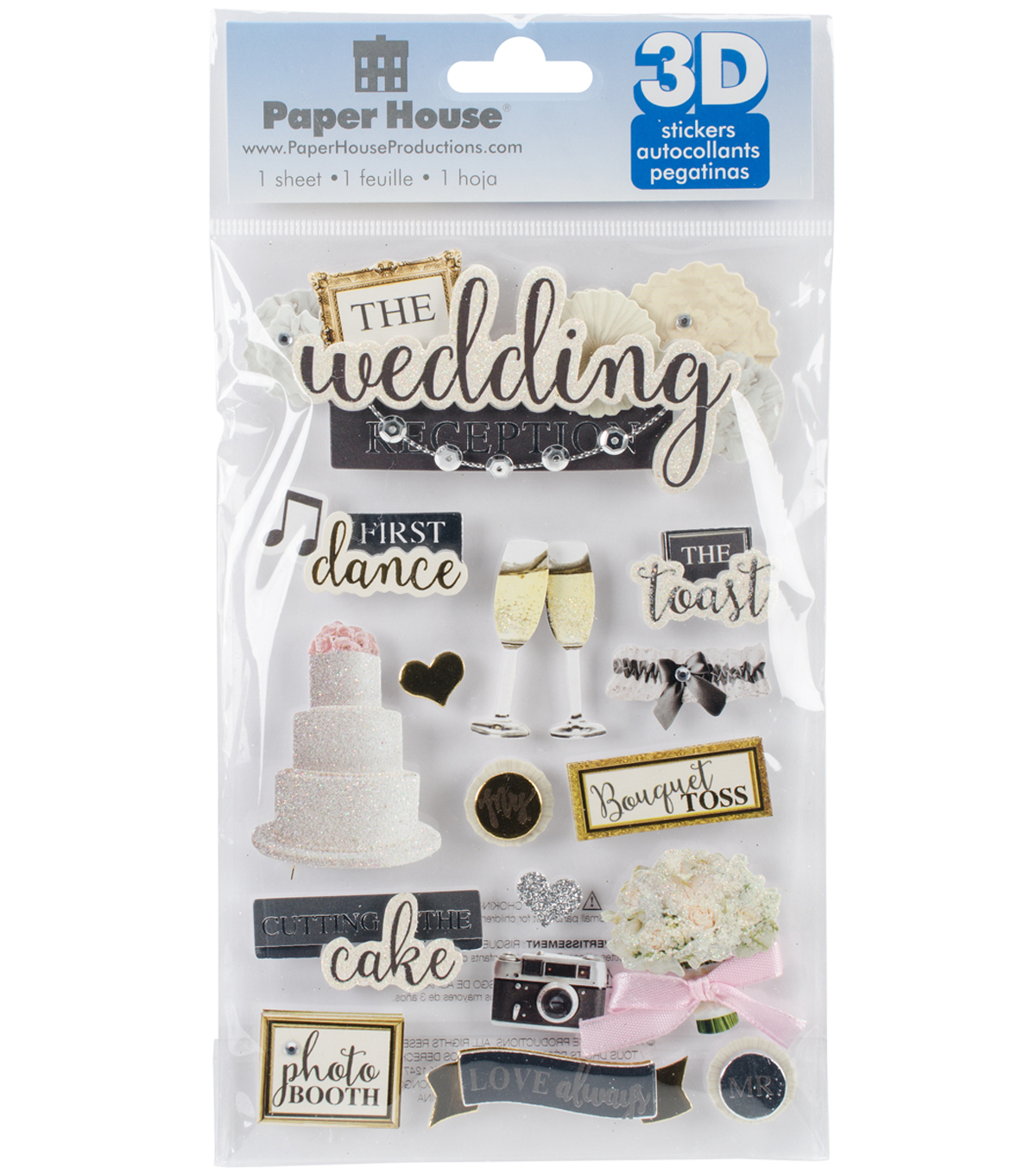 Paper House 3D Stickers 4.5\u0022X7\u0022-Wedding Reception