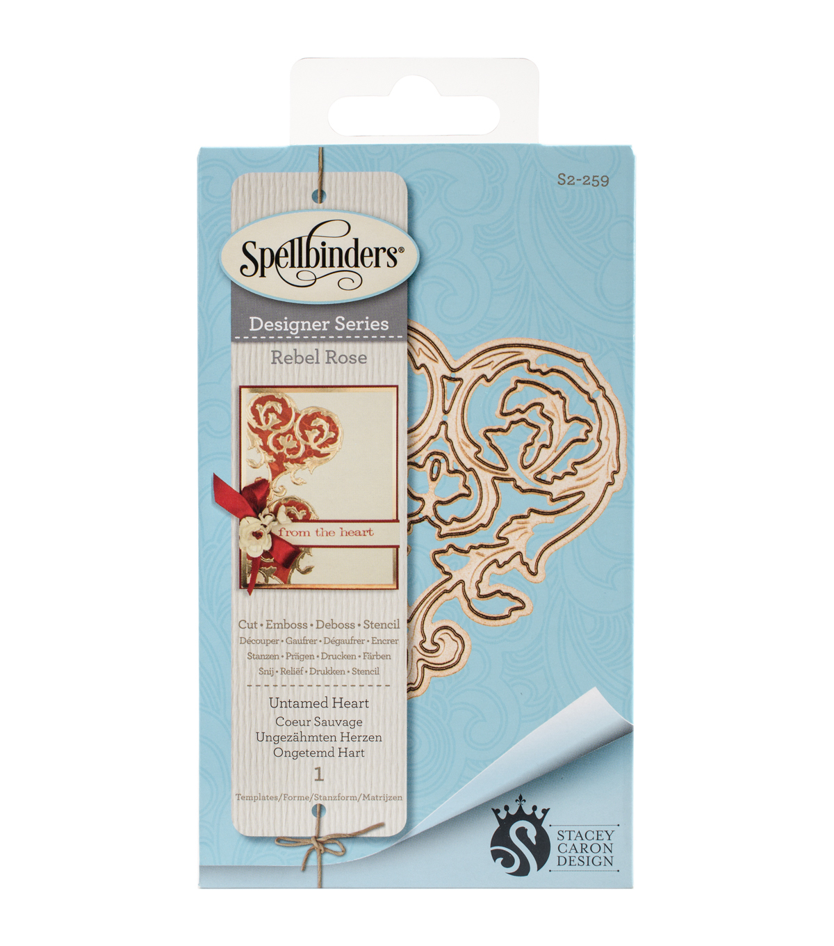 Spellbinders® Rebel Rose Die D-Lites Etched Die-Untamed Heart