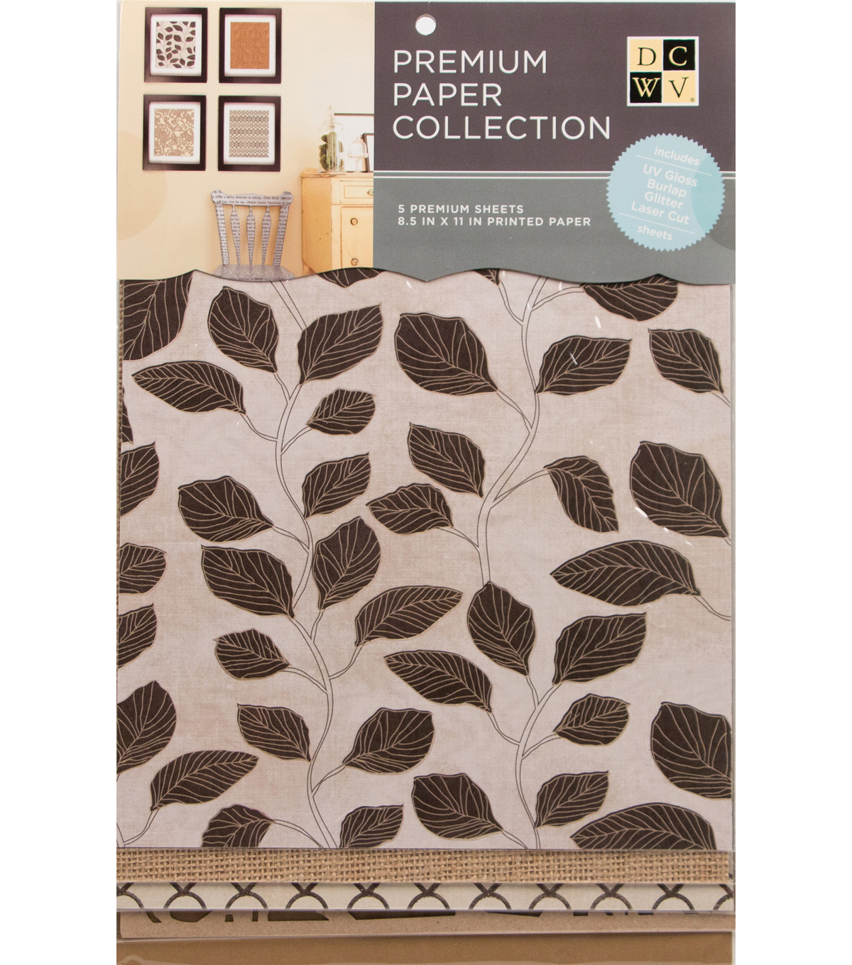 DCWV 8.5\u0022X11\u0022 set of 5 Premium Papers-Bronze and Natural Assortment