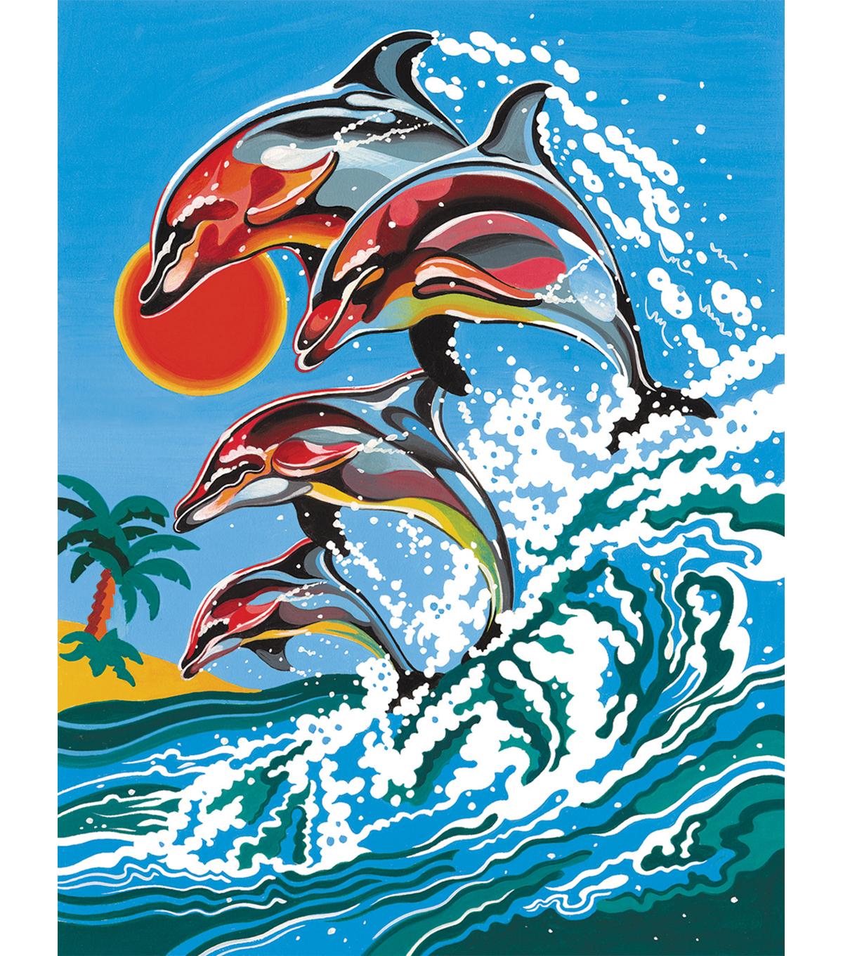 "Medium Paint By Number Kits 9""X12""-Dolphins"