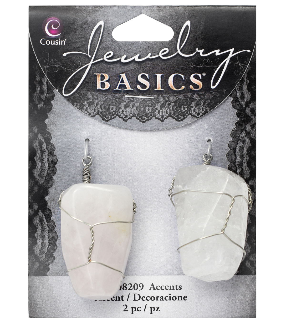 Cousin® Jewelry Basics 2 Pack Stones with Silver Wire Bail-White