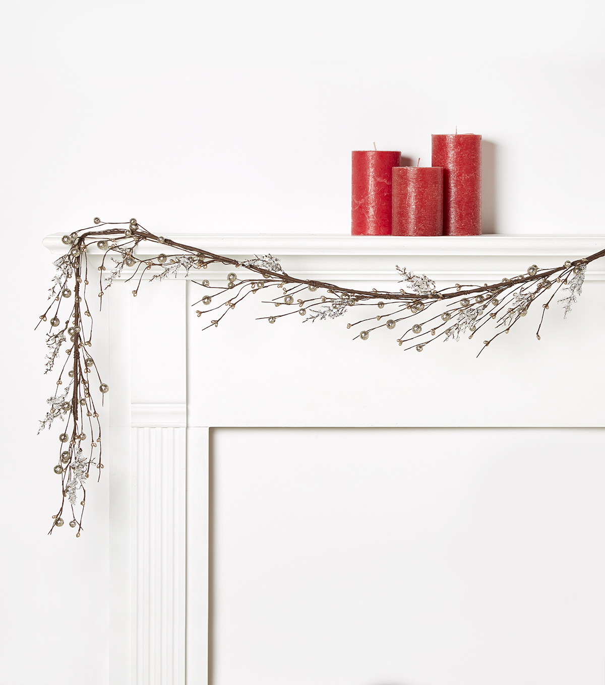 Blooming Holiday Berry & Ice Glitter Garland-Champagne
