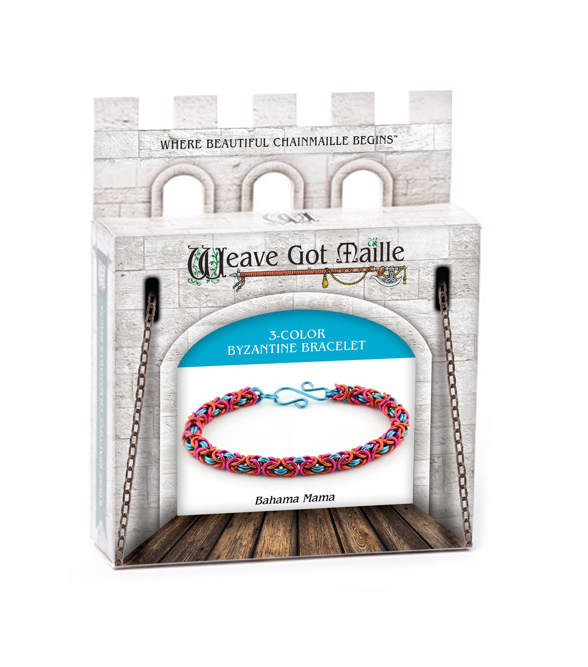 Weave Got Maille 3 Color Byzantine Bracelet Kit-Bahama Mama