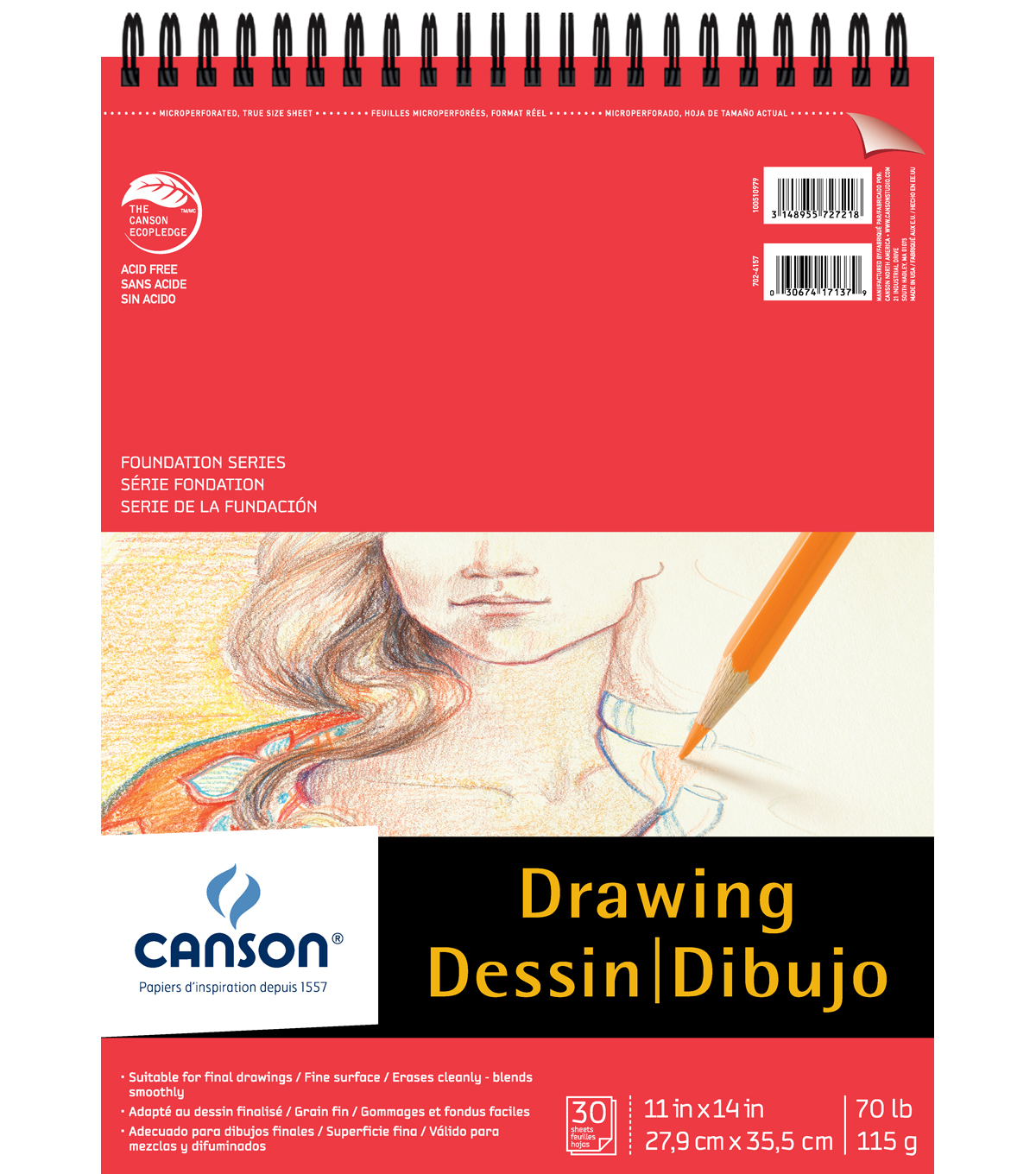 Canson® 30 Sheets 11\u0027\u0027x14\u0027\u0027 Foundation Drawing Pad