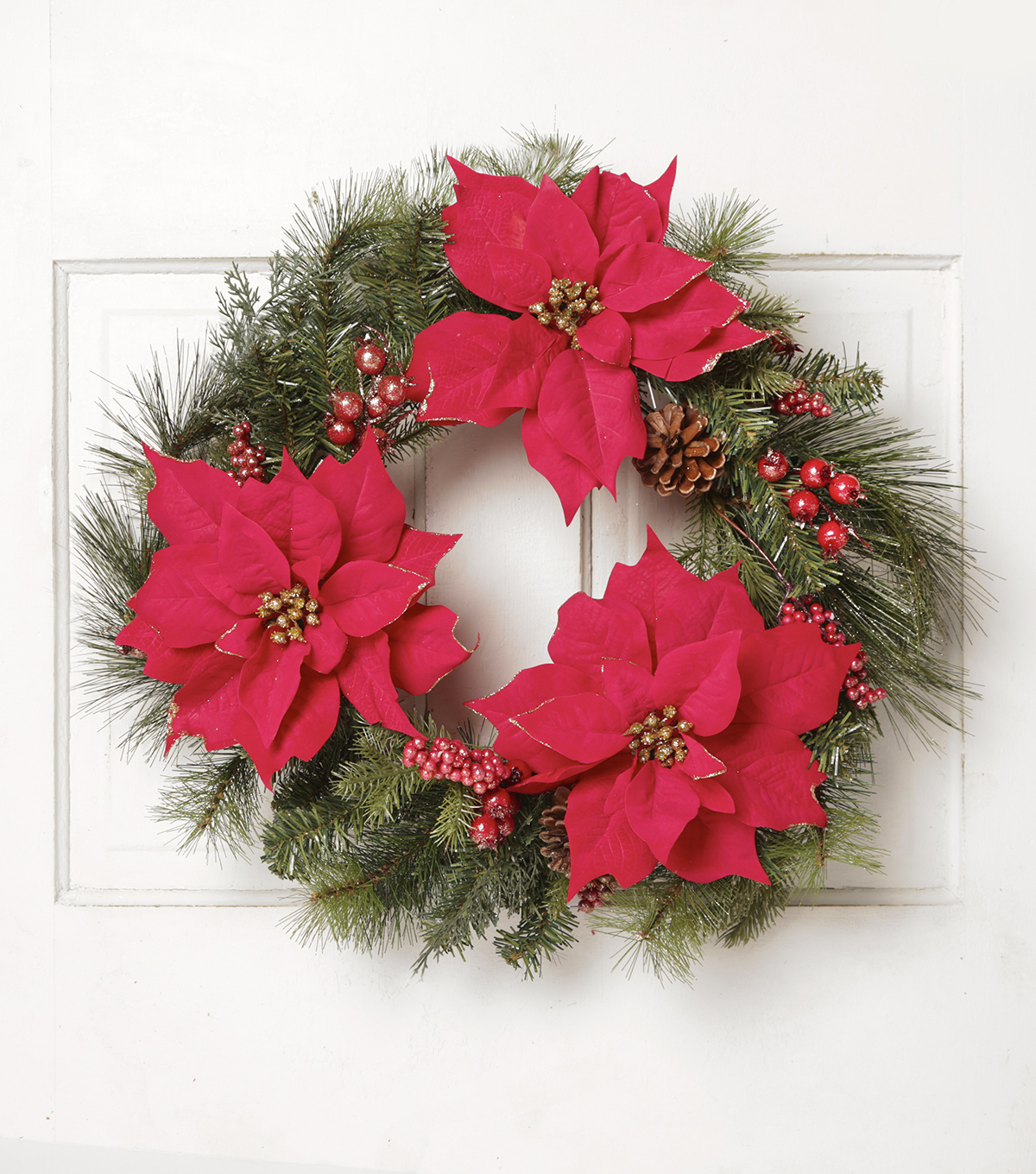 Blooming Holiday 22'' Poinsettia Pinecones & Berries Wreath