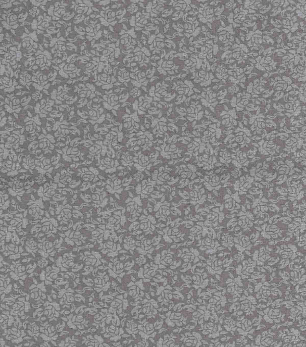 Buttercream™ Elizabeth Cotton Fabric 43\u0022-Ditsy Rose Silver Metallic
