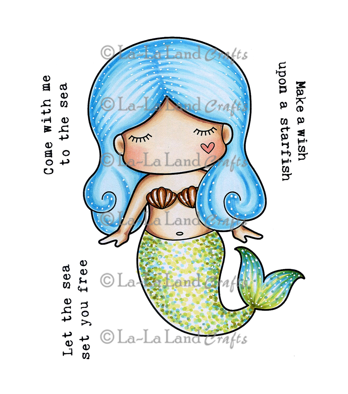 La-La Land Crafts Cling Stamps-Paper Doll Marci-Mermaid