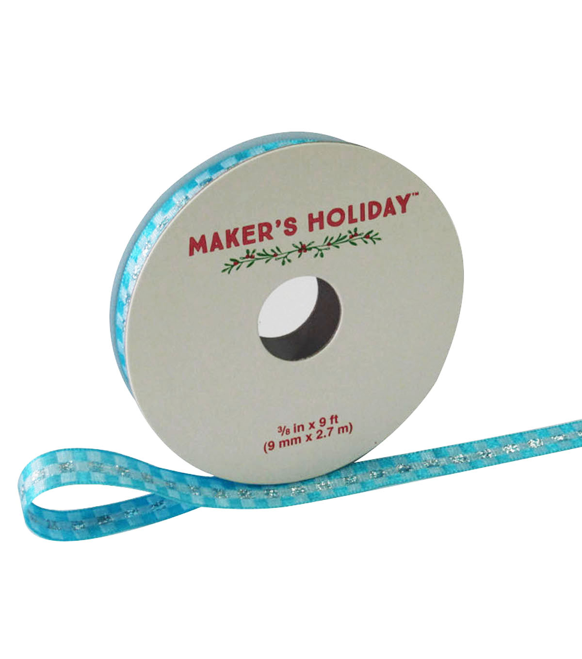 Maker\u0027s Holiday Ribbon 3/8\u0027\u0027x9\u0027-Silver White & Blue Plaid
