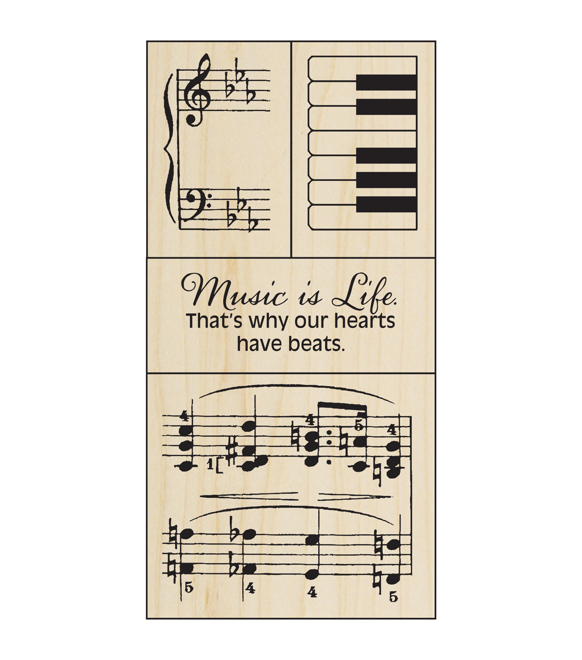 "Stampendous Mounted Rubber Stamp 2.5""X5.75""-Music Set"